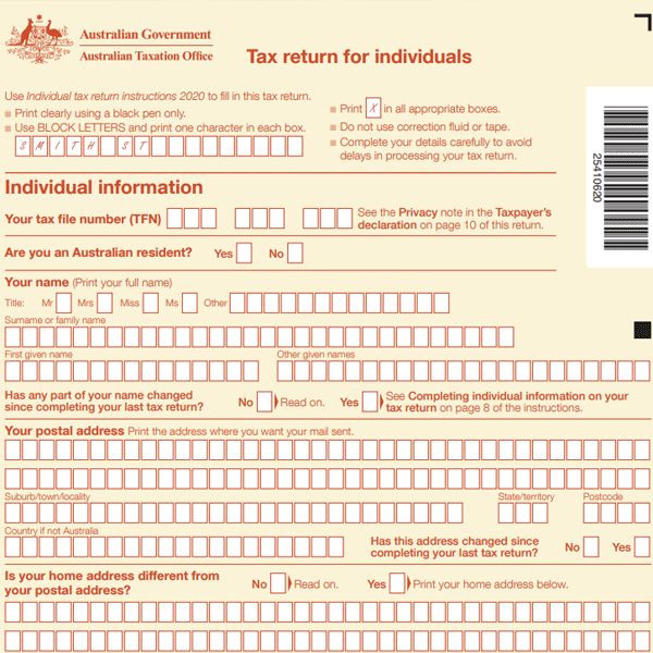Tax return for individuals